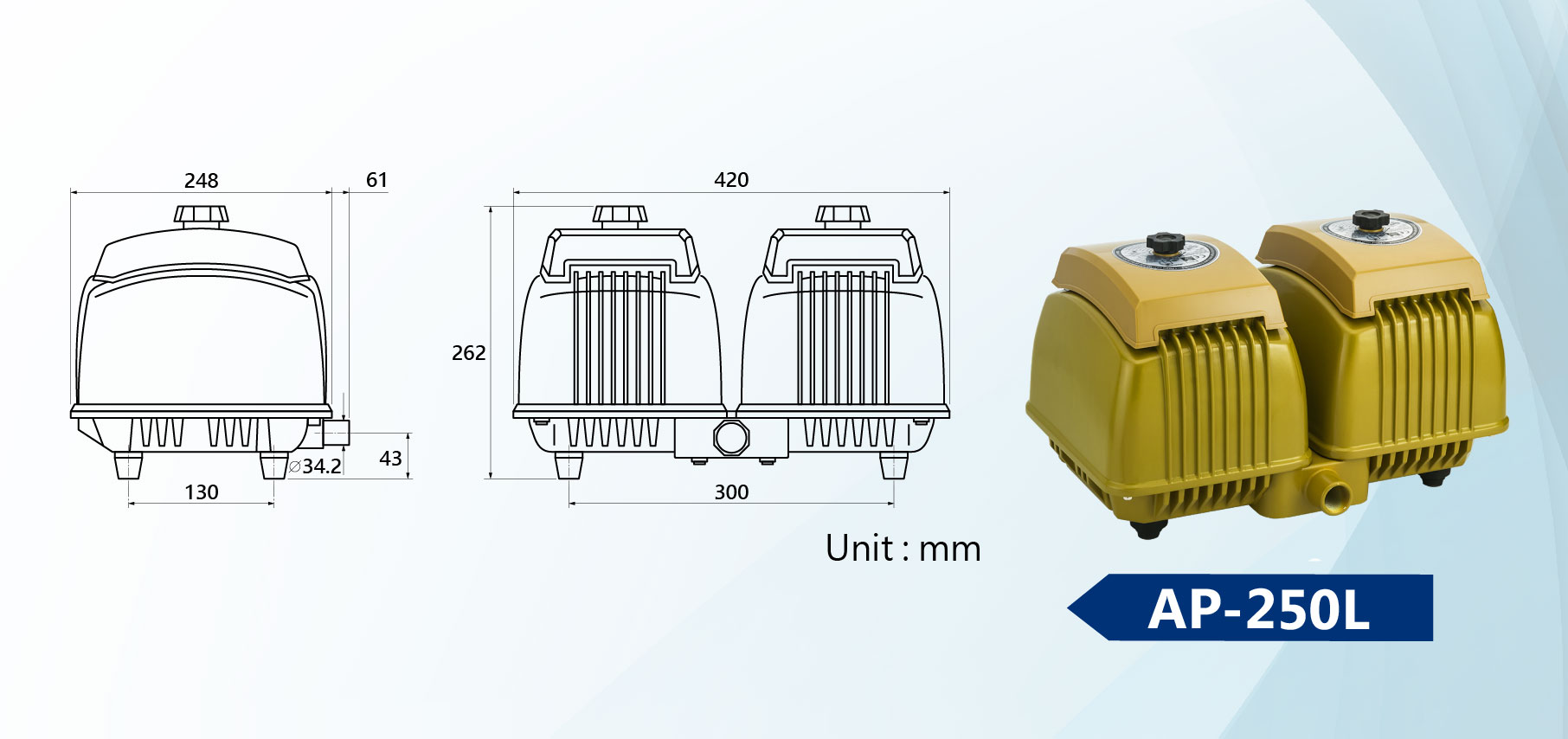 AP-250L Linear Air Pump Dimension