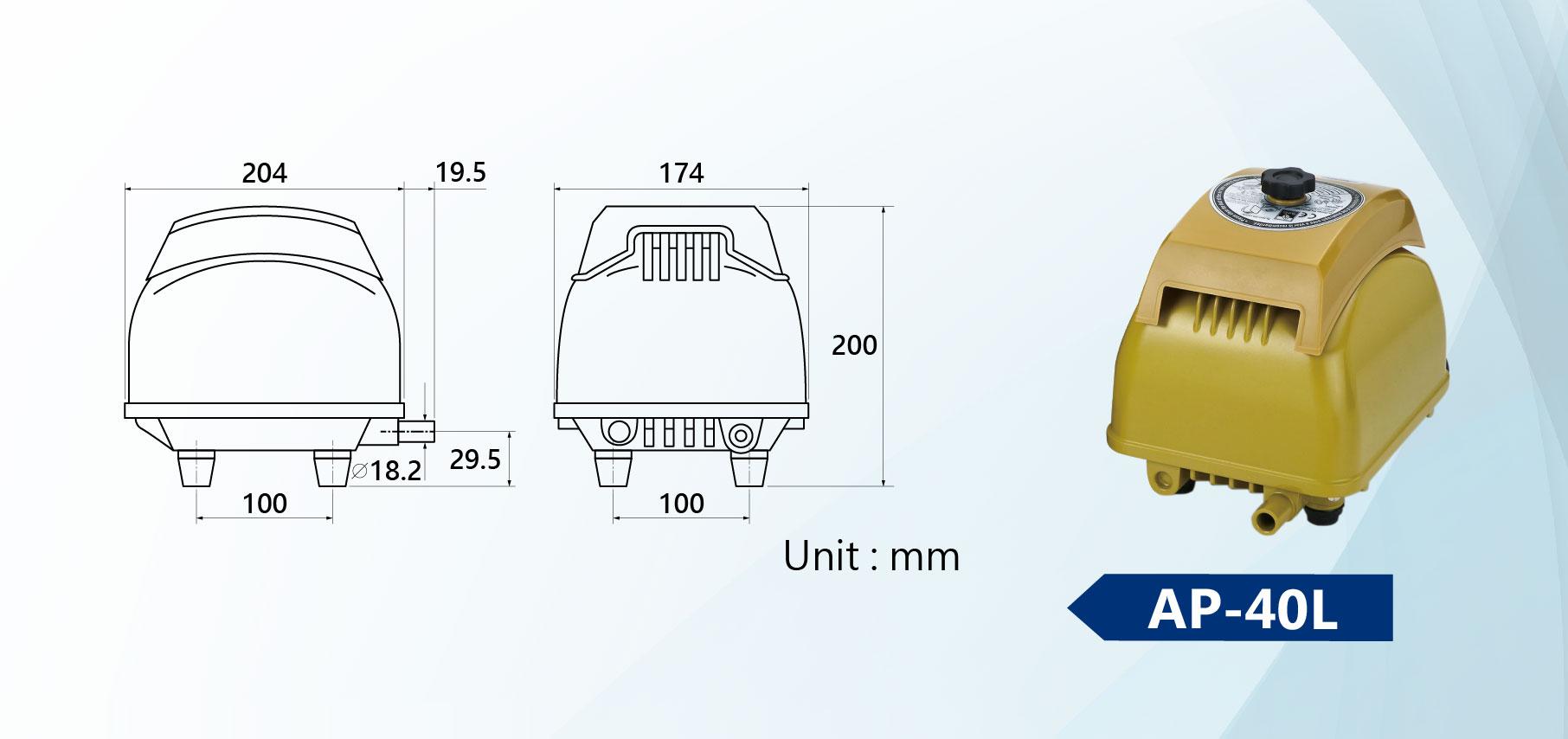 AP-40L Linear Air Pump Dimension