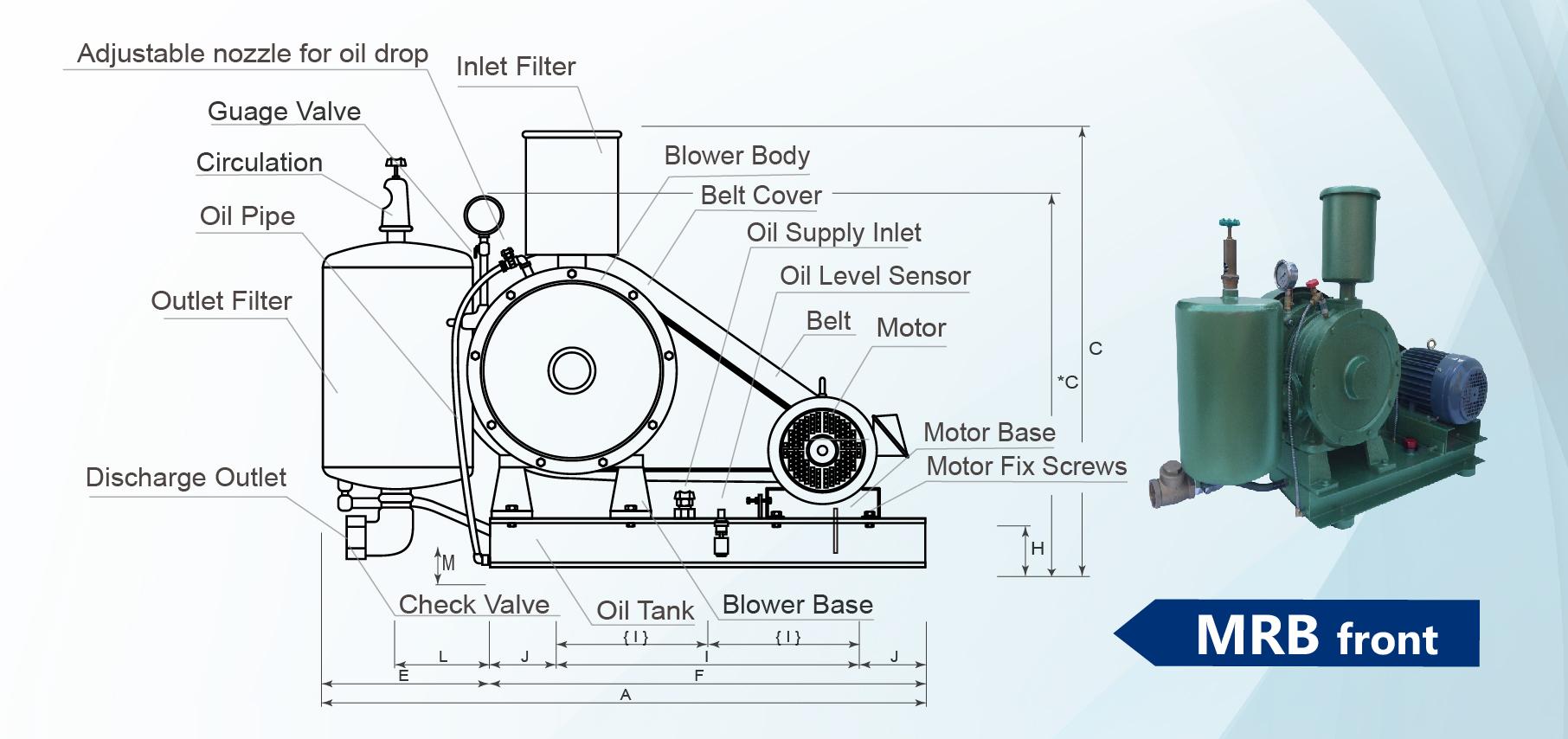 Commercial Rotary Blower : Rotary vane type blower vacuum pump mrb