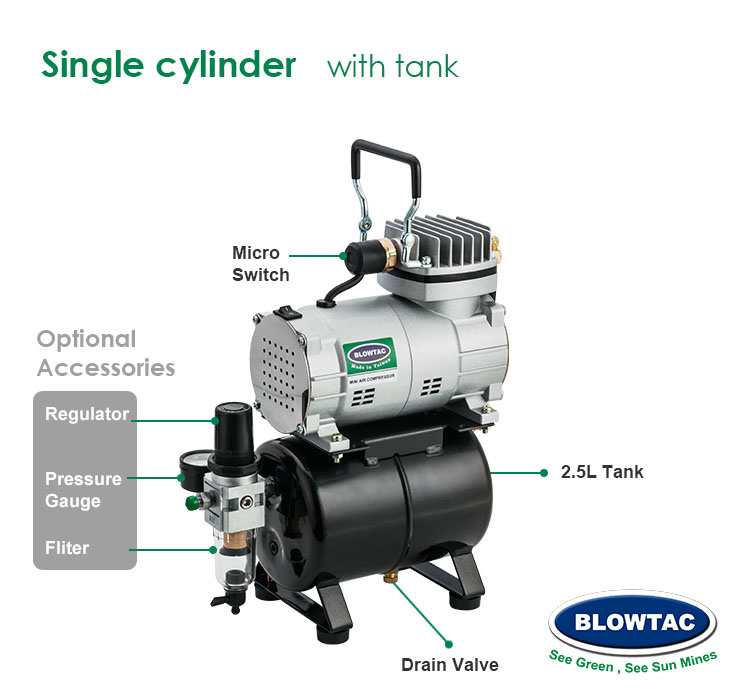 Single cylinder Compressor with tank