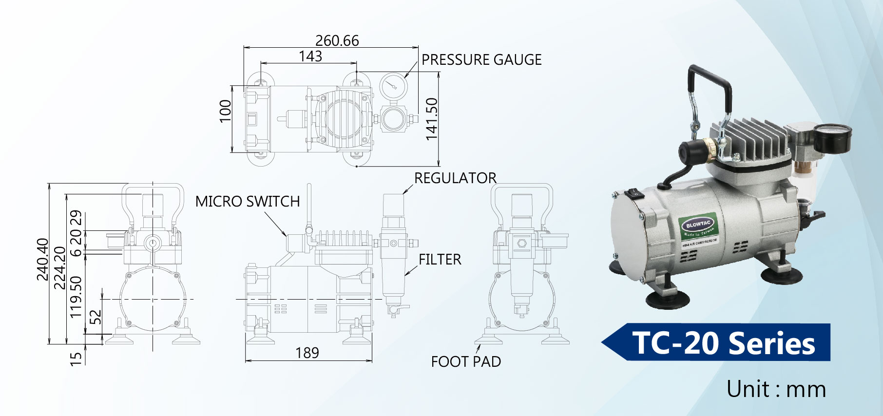 TC-20 Series Mini Air Compressors Dimension