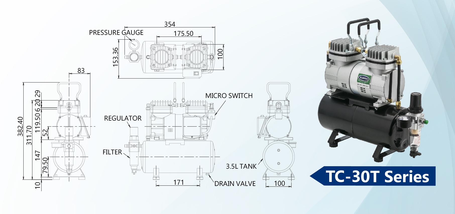 TC-30T Series Mini Air Compressors Dimension