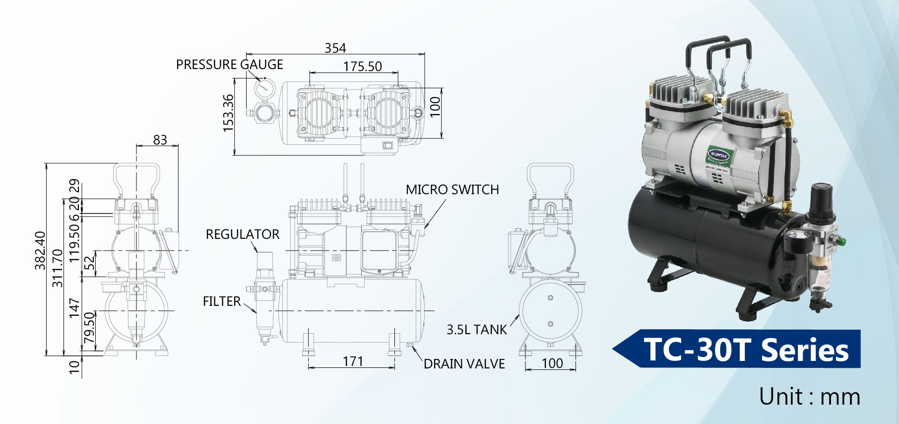 TC-30T Series Mini Air Compressors Dimension