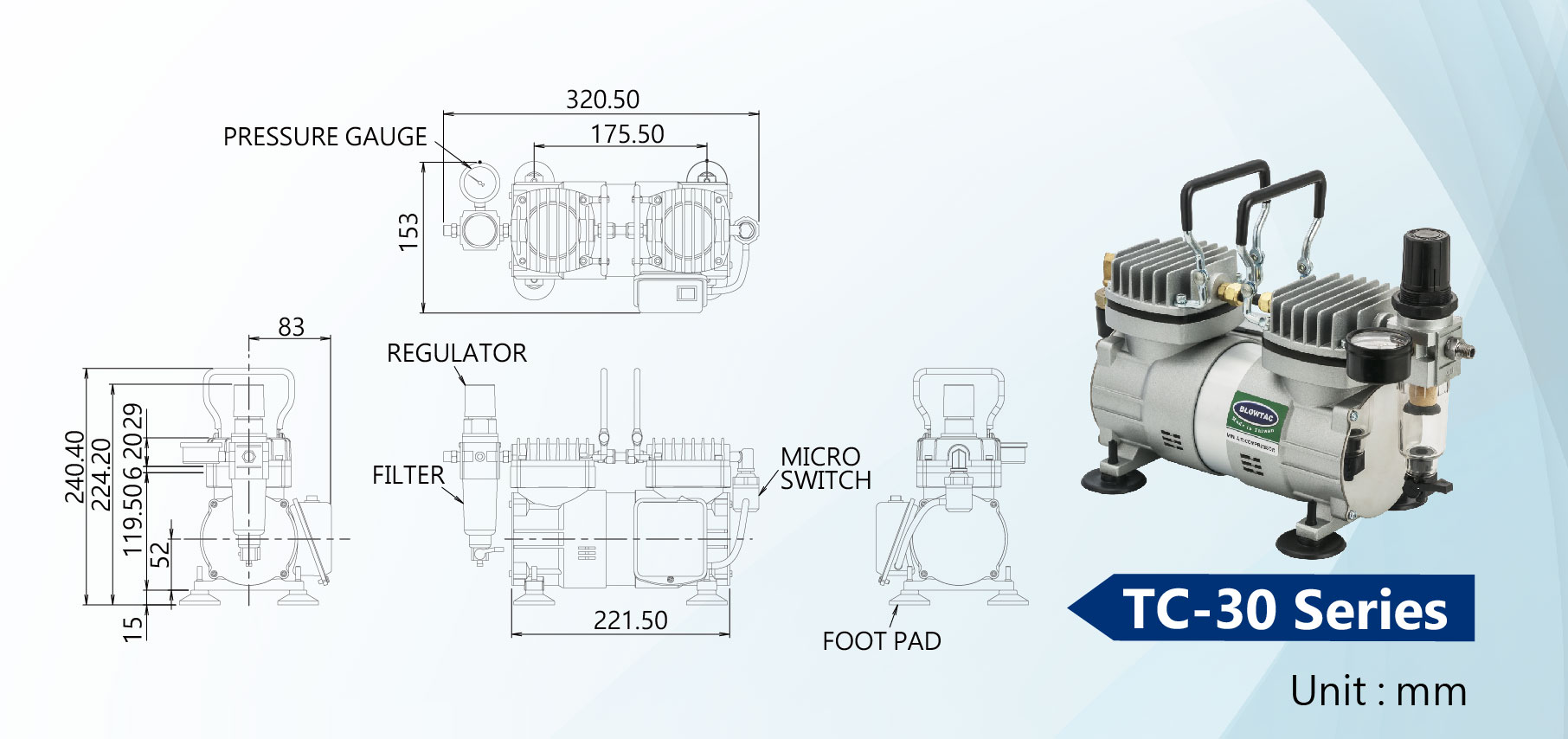 TC-30 Series Mini Air Compressors Dimension